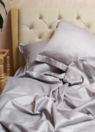 Шелковое постельное белье двуспальное сталь