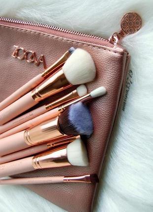 Набор кистей для макияжа 8 шт клатч-косметичка rose golden - розовое золото