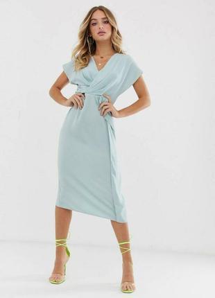 Платье миди с драпировкой спереди asos