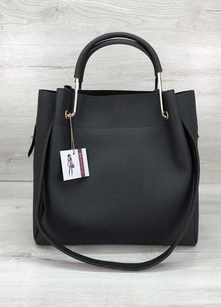 Графитовая черная сумка с косметичкой деловая с двойными ручками шоппер