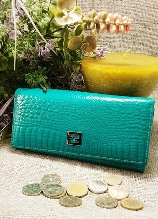 Большой кожаный лаковый кошелек бирюза, 100% натуральная кожа, есть доставка бесплатно