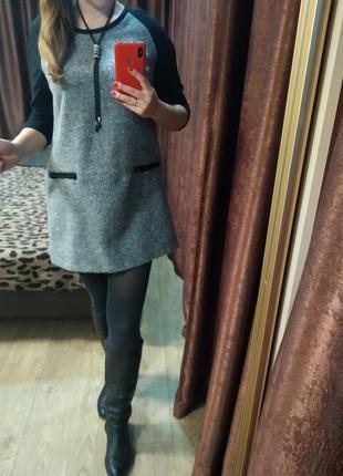 Платье туника короткое теплое букле