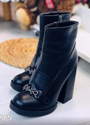 Черные демисезонные ботинки из эко-кожи на удобном широком каблуке