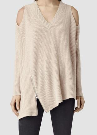 Шикарный стильный актуальный ассиметричный бежевый шерстяной свитер шерсть all saints