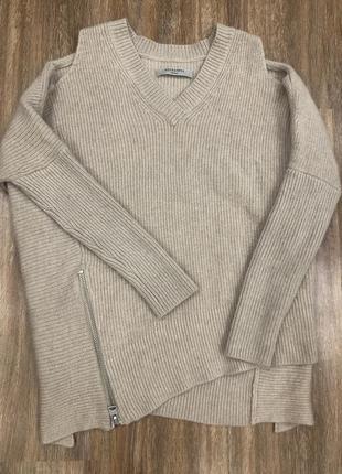 Шикарный стильный актуальный ассиметричный бежевый шерстяной свитер шерсть all saints2 фото