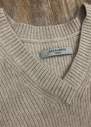 Шикарный стильный актуальный ассиметричный бежевый шерстяной свитер шерсть all saints3 фото