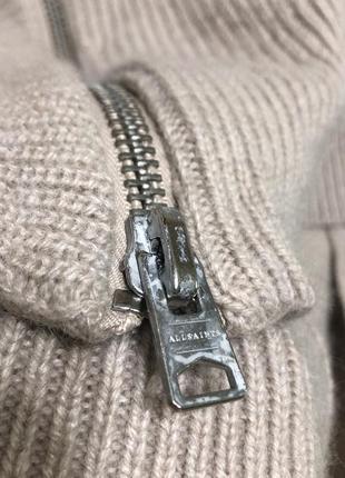 Шикарный стильный актуальный ассиметричный бежевый шерстяной свитер шерсть all saints7 фото