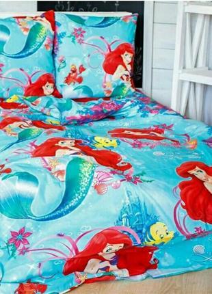 Полуторный комплект постельного белья для девочек русалочка
