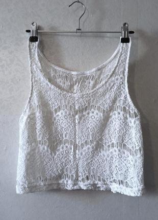 Белый нарядный кружевной прозрачный топ (пляжная одежда)
