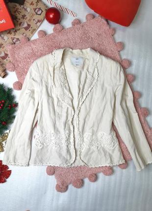 Натуральный льняной приталенный жакет пиджак с подплечниками nelva / ликвидация