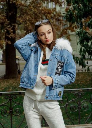 Куртка джинсовая с мехом размеры m l xl