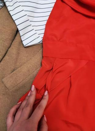 Красное алое платье шифоновое с воланом на груди приоткрыты плечи oasis3 фото