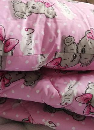 Подушка одеяло хлопковые с холлофайбером - подушка ковдра бавовняні з холлофайбером