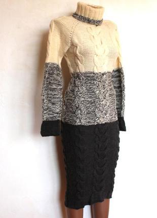 Эксклюзивное вязаное теплое зимнее платье из мериносовой шерсти, доставка бесплатно