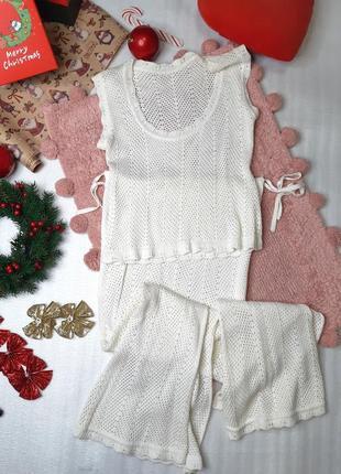 Вязаный эластичный облегающий костюм: топ и юбка в пол / ликвидация вещей скидки