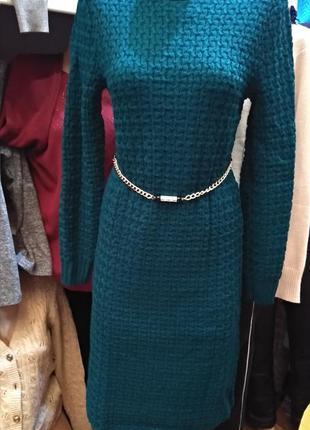 Вязаное платье 💚 изумруд