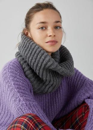 Снуд шарф хомут объёмный серый новый