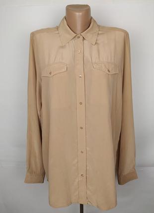 Блуза шелковая бежевая шикарная с карманами 100% шелк!!! uk 14/42/l