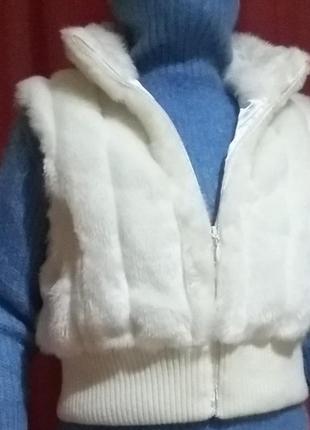 Безрукавка жилетка жилет женский короткий белый эко мех one size