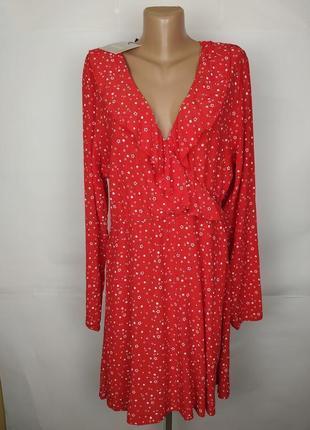 Платье красное натуральное мега модное на запах missguided uk 16/44/xl