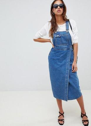 Сарафан комбинезон женское джинсовое платье миди asos хл л