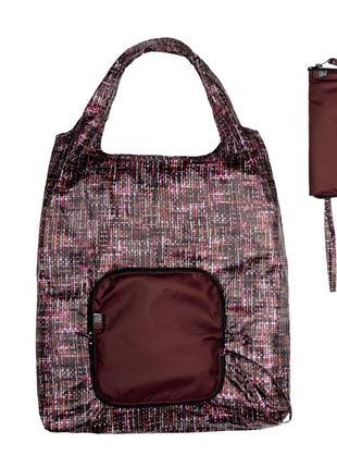 Складная хозяйственная сумка тканевая эко сумка шоппер для покупок бордовая 40x60 см