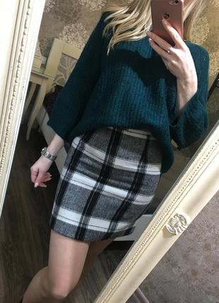 Теплая юбка в клетку 22% шерсть!