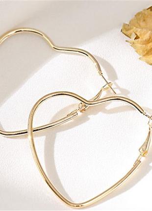 Серьги серёжки сердца сердечки золотистые новые
