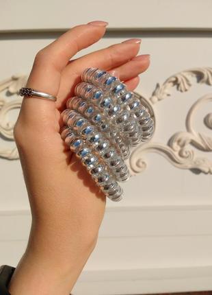 Резинка пружина серебро