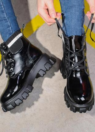 Зимние лаковые ботинки боты берцы черевики боти берци