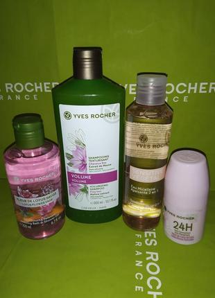 Набор: шампунь, дезодорант, мицеллярная вода, гель для душа  и пакет ив роше