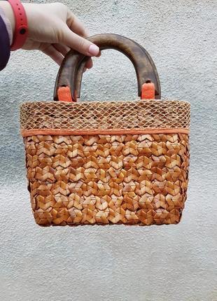 Плетеная сумка с деревянным ручками made in thailand