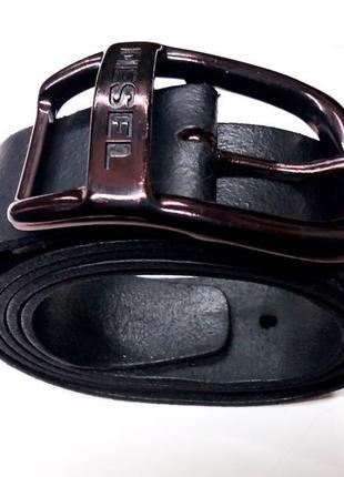 """Дорогой широкий прочный и супер-мягкий кожаный ремень """"diesel"""" . италия. 100 см."""