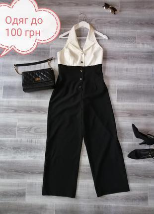 Женский брючный комбинезон в деловом стиле комбез брюки палаццо