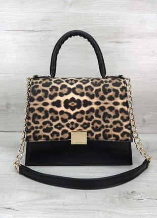 Сумка леопардовая клатч на цепочке с черным трендовая кросс боди