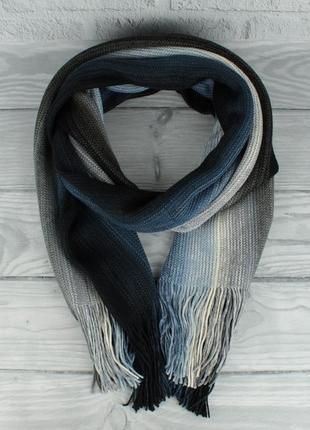 Теплый вязаный шарф, палантин vlasite 7380-2 синий комбинированный унисекс