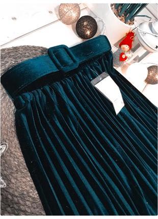 Бархатная юбка плиссе с поясом9 фото