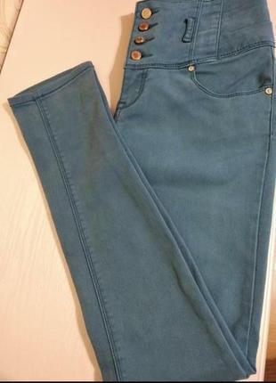 Бирюзовые джинсы скинни с высокой посадкой, original denim