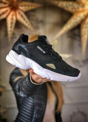 Шикарные женские кроссовки adidas falcon black унисекс 😍 (весна/ лето/ осень)