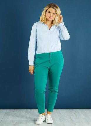 Блуза сорочка рубашка в мелкую голубую синюю полоску классическая kiabi m l