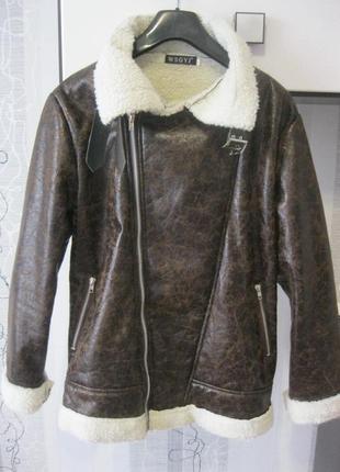Косуха куртка дублёнка пилот стильная весна осень еврозима ххл 16