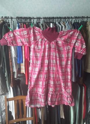 Байковое платье с карманами в боковых швах