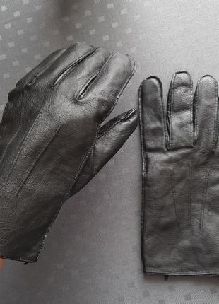 Кожаные черные перчатки большой размер