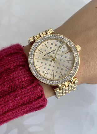 Женские наручные металлические модные часы блестящие золотистые