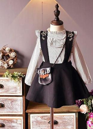 Комплект тройка (школьная форма): юбка-сарафан на бретелях и две белые блузы