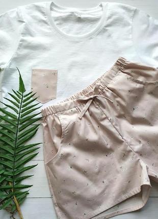 Пижама шортики и футболка в нежный цветочек