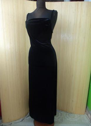Шикарное вечернее чёрное длинное  бархатное платье laura ashley  размер s-m