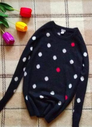Кашемировый свитер 100% кашемир в веселый горошек