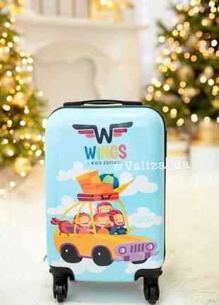 Детский чемодан из поликарбоната пластиковий маленький для ручной клади с машинсками.