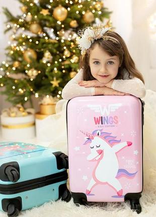 Детский чемодан из поликарбоната пластиковий маленький для ручной клади с единорогом..
